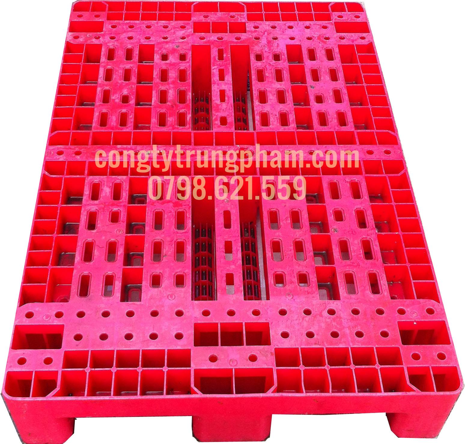 Pallet nhựa màu đỏ 800x1200x180